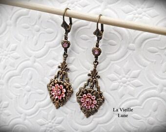 Pink Crystal and Filigree Flower Earrings, Victorian Earrings in Antique Brass