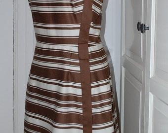 50s 60s Dress, Pat Premo, Fit & Flare, Stripes, Chocolate and White, Designer, Size M/L