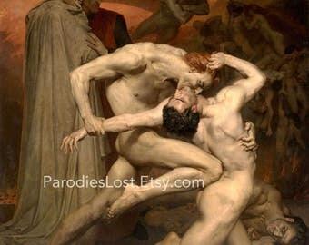 VAMPIRE MALE NUDE Bouguereau Print Demon Hell Dante Horror Mature