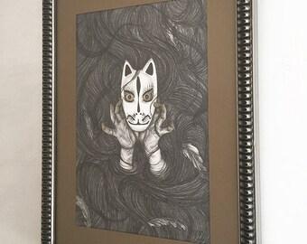 The Veil - framed drawing by Stephanie Inagaki