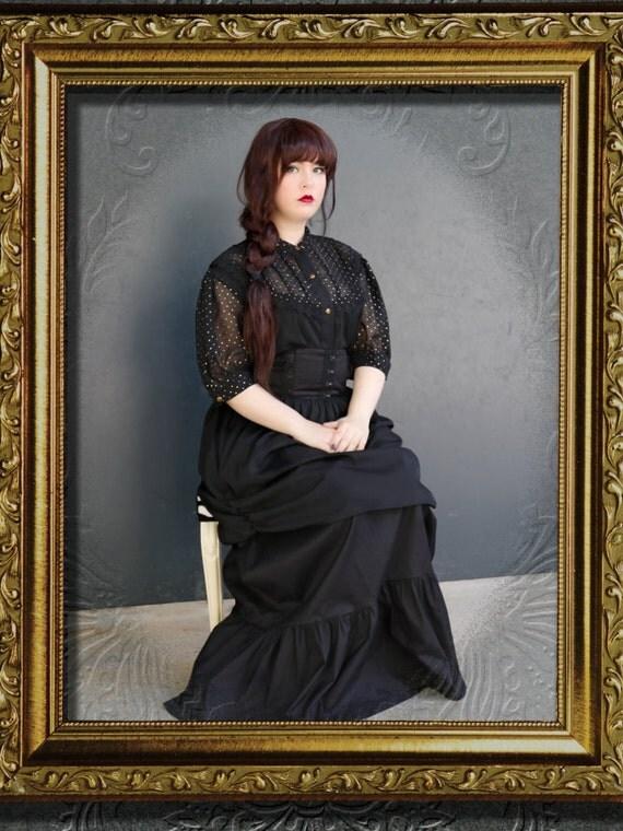 Black and Gold Steampunk Shirt, Gothic Lolita Blouse