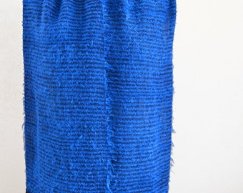 Electric Blue Handwoven Scarf, Blue Striped Scarf, Silk Rayon and Nylon Eyelash Yarn Hand Loomed Scarf, Gift for Wife