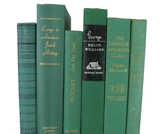 Green  Books , Old Green Books , Decorative Books  , Wedding Centerpiece , Book Home Decor ,  Vintage Books , Instant Library