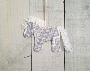 Reclaimed wool felt horse ornament