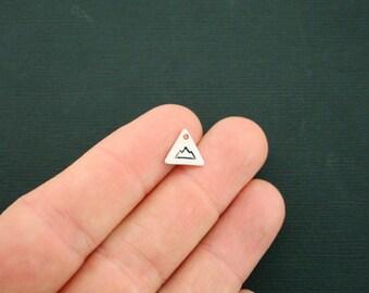20 Mountain Charms Antique Silver Tone Tiny Triangle Mountain So Cute - SC6513