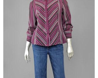 SALE - 90s Blouse Chevron Striped Shirt Long Sleeve Button Down Shirt 70s Style Striped Blouse Burgundy Grey 1990s Shirt