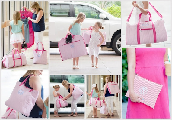 Girls Pink Seersucker Travel Bags, Monogram included