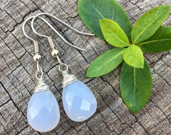 Blue Chalcedony Gemstone Teardrops . Earrings