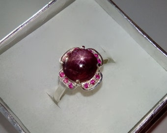 Natural Star Ruby, Natural Pink Rubies In Sterling Silver Flower Ring, 3.4ct. Size 7.
