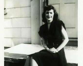 "Vintage Photo ""Waiting for Her Sweetheart Jack"" Snapshot Antique Photo Old Black & White Photograph Found Paper Ephemera Vernacular - 17"