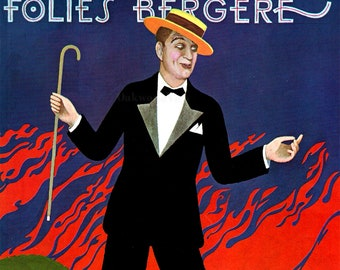 Folies Bergere Maurice Chevalier 10x13 Illustration by Paul Davis, Vintage 1963 Art Deco Magazine Print, FREE SHIPPING