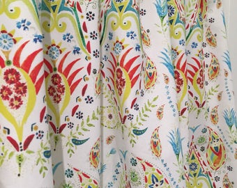 Paisley Turquoise, Red, Yellow, Lime Green Cafe Valances, Window  Treatments, Kitchen