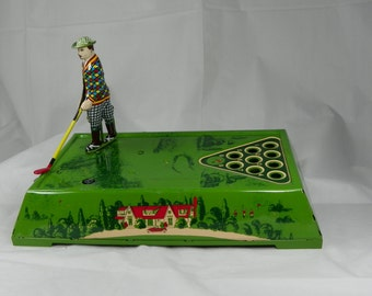VINTAGE 1980s Play Golf WORKING Wind Up Tin Toy Ferdinand Strauss Game Metal Sports Table Desk Top Executive Man Cave Golfer Guy Gift Fun