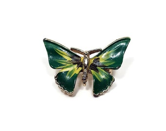 Green Yellow Vintage Butterfly Brooch Pin Enameled Gold Tone Insect Bug Retro 1980s