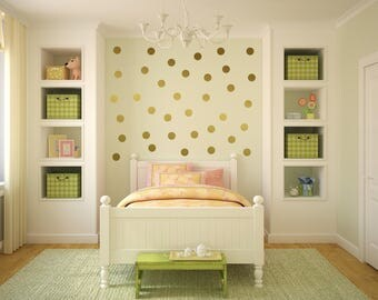 Gold Dot Wall Decal, Gold Polka Dot Wall Stickers, Polka Dot Wall Decor, Wall Dots, Vinyl Wall Dots, Gold Circle Wall Stickers, Gold Dots