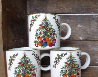 Vintage English Christmas Mugs Christmas Tree Retro 1970s Coffee Mugs Christmas Crackers Opening Tree Teddy Bear Doll Toys Made in England