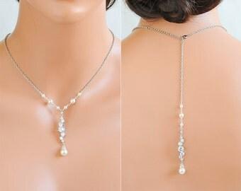 Bridal Pearl Necklace, Bridal Jewelry, Backdrop Wedding Necklace, Swarovski Pearl Back Necklace, Crystal Y Back Drop Necklace, JESSALYN