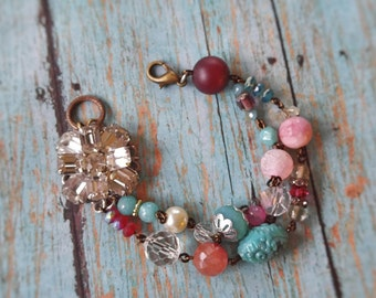 Upcycled vintage bead bracelet, repurposed, shabby chic, one of a kind jewelry