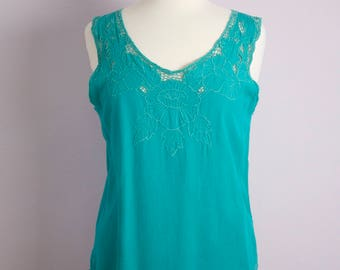 Vintage 1980's Turquoise Bali Floral Cut Out Embroidered Tank Top M