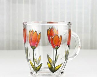 Hand Painted Glass Mug, Tulips Design, Orange and Pink, Glass Coffee Mug, Glass Tea Mug, Painted Glass Mug, Floral Glass Mug