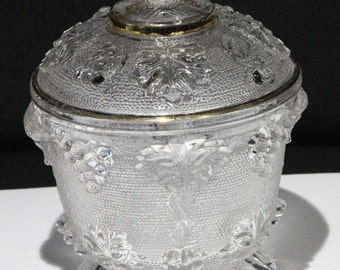 Jeannette Glass Company, Covered Candy Dish, Grape & Leaves Pattern (#3525)