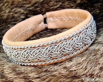 Viking Sami Bracelet GRANI Unisex Natural Leather decorated with Pewter Braids - A Custom Handmade Piece of the North