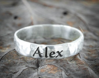 Silver Name Ring, Vintage style, hammered and engraved 5mm ring