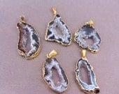 Agate Pendant Druzy Available in Gold or Silver Electroplated in Quantity of 1, 3, 5, 10, 20