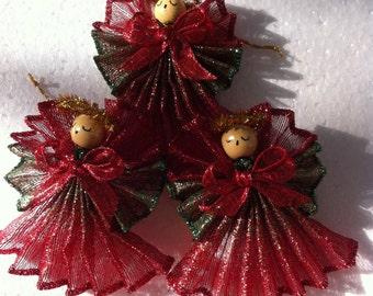 Angels,Set of 3 Handmade,Sheer, Bright & Variegated Color Ornament