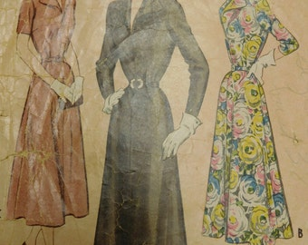 """Vintage 40's McCalls #7831 Sewing Pattern Women's Dress Belted at Waist Three Styles Waist 32"""" Bust 38"""" Complete"""