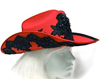 Red Cowgirl Hat El Norteneo Cowboy Hat Derby Hats CB-100