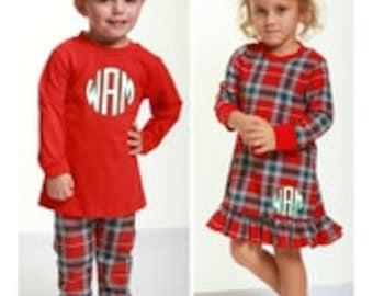 Christmas Lounge pant set, Christmas Gown, Christmas Plaid Pajamas, Christmas Pajamas, Ruffle gown