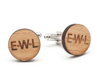 Monogrammed Cufflinks - Wedding Gifts for Groom Best Man and Groomsmen - Fifth Wedding Anniversary Gift for Men - Wood Cufflinks