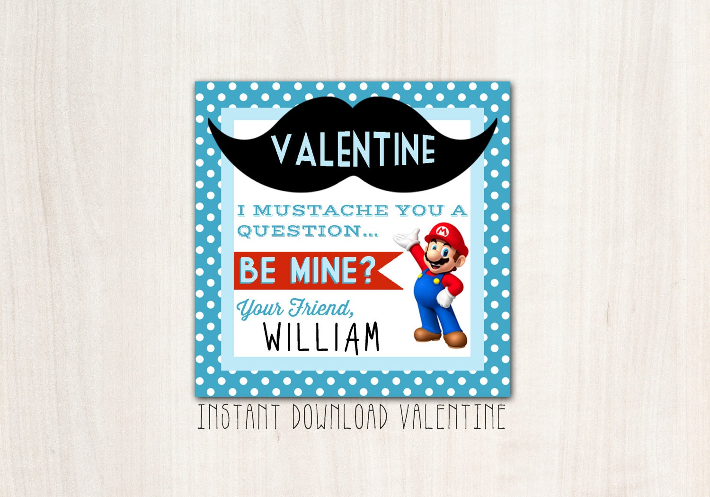 Mario Valentines - DIY Print - INSTANT Downland