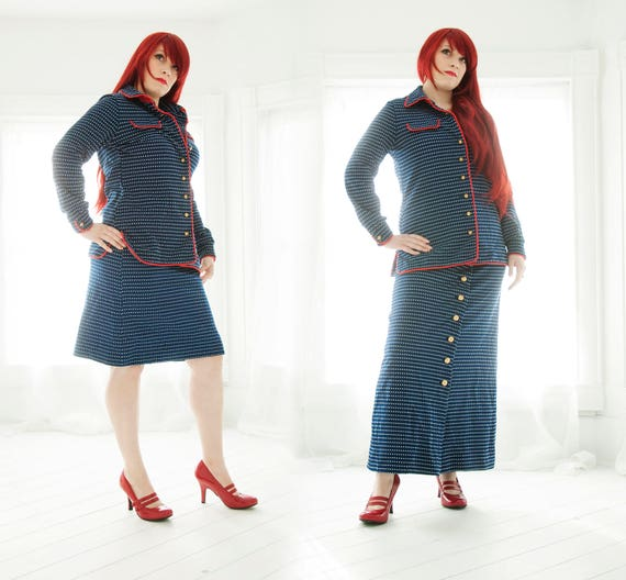 Vintage navy blue three-piece suit, dress set, long sleeves, high-waist A-line maxi mini skirt, I. Magnin, red white, L XL plus size, 1970s