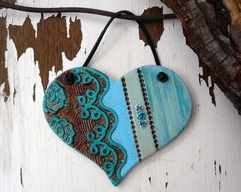 Turquoise Lace Heart Wall Decor, Handmade Bohemian Heart Wall Hanging, Ceramic Textured Wall Heart, XOXO, Gift For a Friend, Ready To Ship.