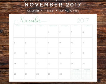 November 2017 Calendar | November 2017 | November | Calendar | Printable Calendar | Printable | Monthly Calendar | 2017 | Instant Download