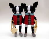 RESERVED  FOR  ALEX  -  Two Woollen Boston Terrier's  -  Handmade plush dogs wearing red felt smock dresses with green tartan fronts.