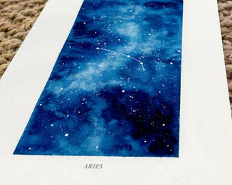 Aries, Zodiac Sign, Watercolor Print, 5x7, 8x10, Wall Art, Galaxy, Constellation, Stars, Astrology, Astronomy, Gift, Giclee Print