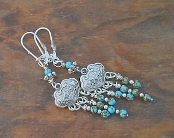 Turquoise Chandelier Earrings Tibetan Silver Genuine Stones Boho Southwest Flair Gypsy Dangle Valentine Gift Idea