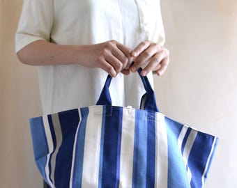 Simple top handle bag. Blue stripe market tote. Style148BS. Ready to ship