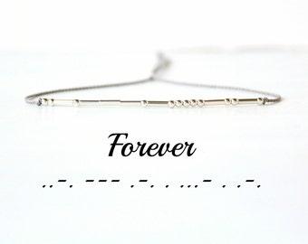 Forever Morse Code Bracelet Best Friend Bracelet Gift Inspirational Minimalist Jewelry Silk Cord Sterling Silver Beaded Bracelet