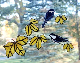 Stained Glass Black Capped Chickadee Pair on Gold Maple Branch Sun Catcher, Wall Decor, Stained Glass Birds, Glass Art