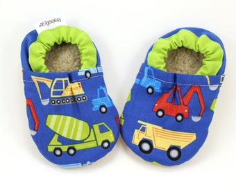 LAST PAIR 6-12 mos // baby truck shoes baby boy construction shoes soft sole shoes for baby truck slippers vegan slippers vegan truck bootie