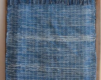 "Hand Woven Rag Rug - Denim with Blue Grey Fringe - 22"" x 54"""