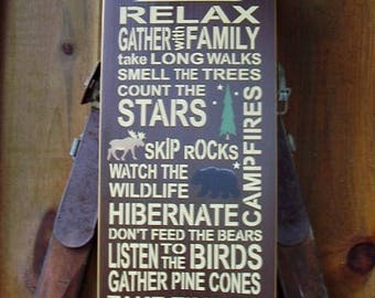 Rules Sign, Cabin Rules, Watch The Wildlife, Cabin Decor, Rustic Decor, Cabin Wall Art