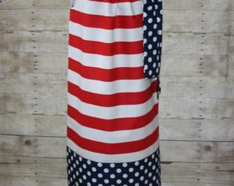 Dress for Juniors, misses, plus, petite, women's red stripe patriotic 4th of July dress 0,1,2,4,6,8,10,12,14,16,18,20