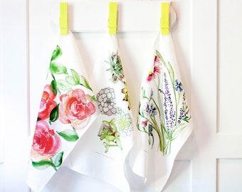 floral tea towel set, flower watercolor art prints, Simple kitchen garden linens, tea towel, country kitchen decor, housewarming gift