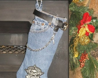 Blue Jean Christmas Stocking denim Indian, Yamaha, Victory, Goldwing bikers