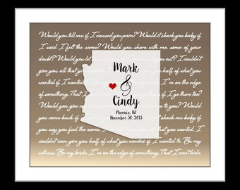 Birthday gift for wife, Any state or arizona wedding gift st valentines day for him, graduation, custom arizona poster, az map any state map